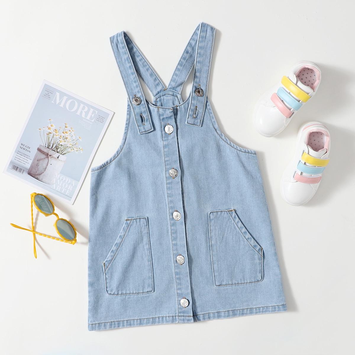 Джинсовое платье с карманом для девочек SheIn skdress25210506647