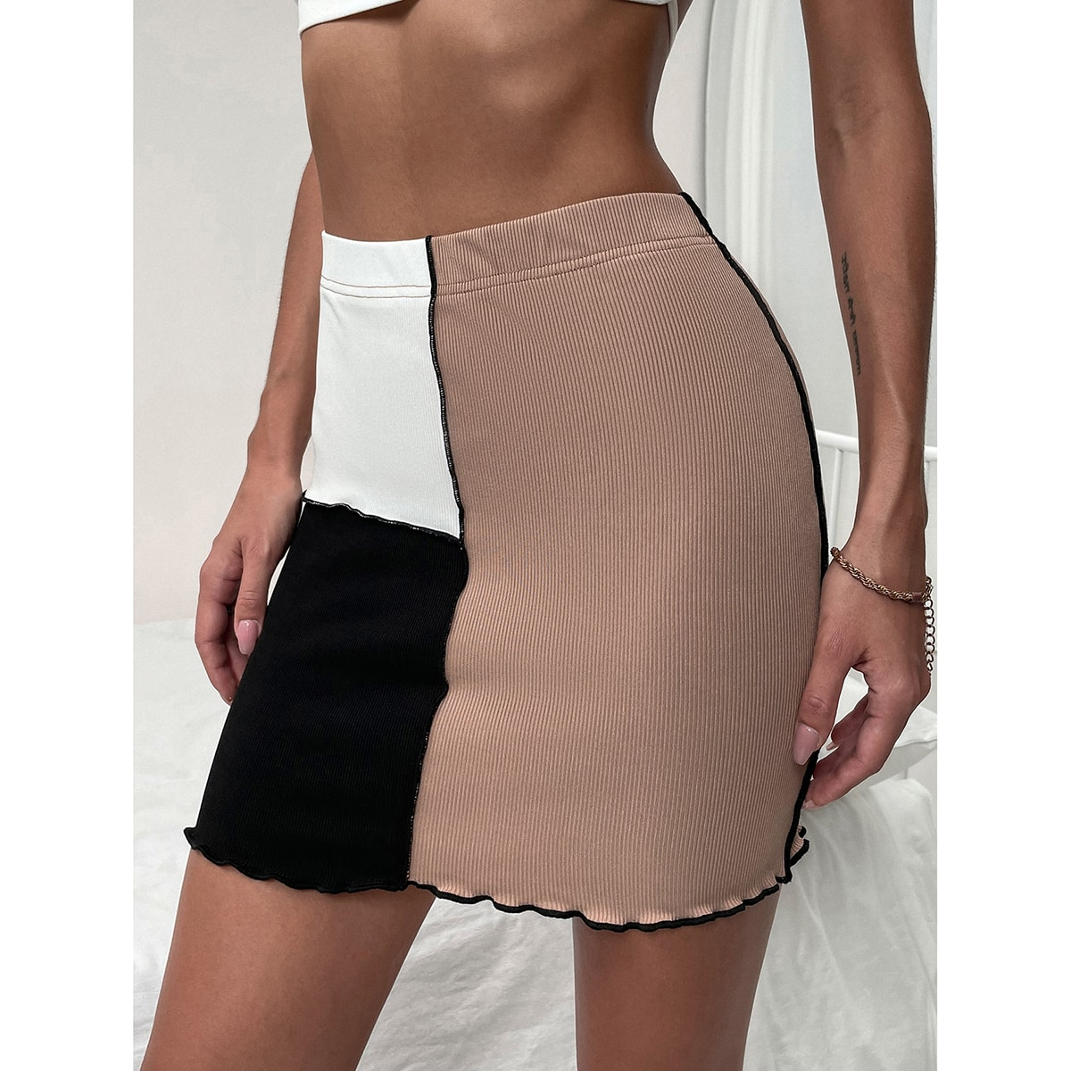Elastic Waist Lettuce Trim Colorblock Skirt, SHEIN  - buy with discount