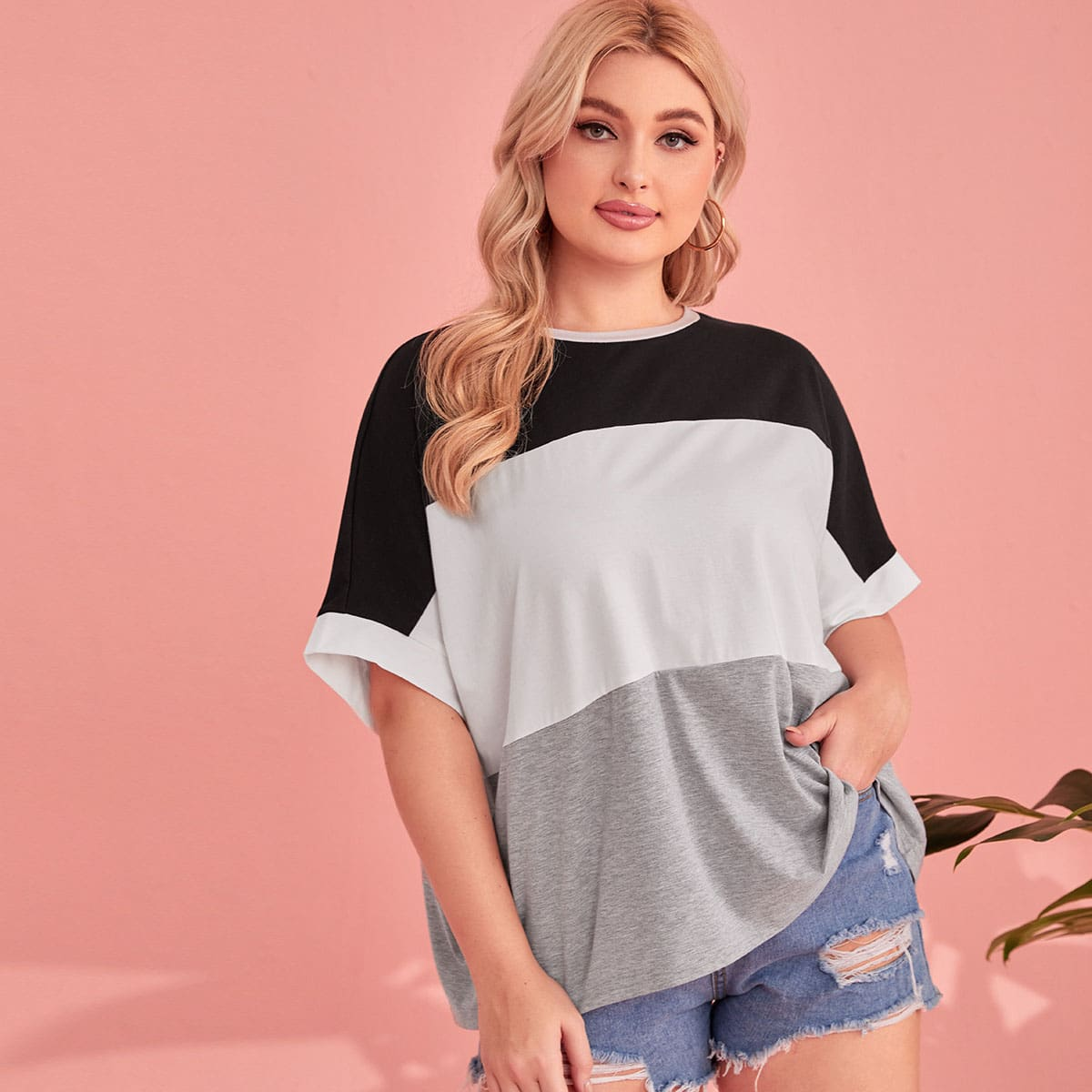 Plus Batwing Sleeve Colorblock Tee, SHEIN  - buy with discount