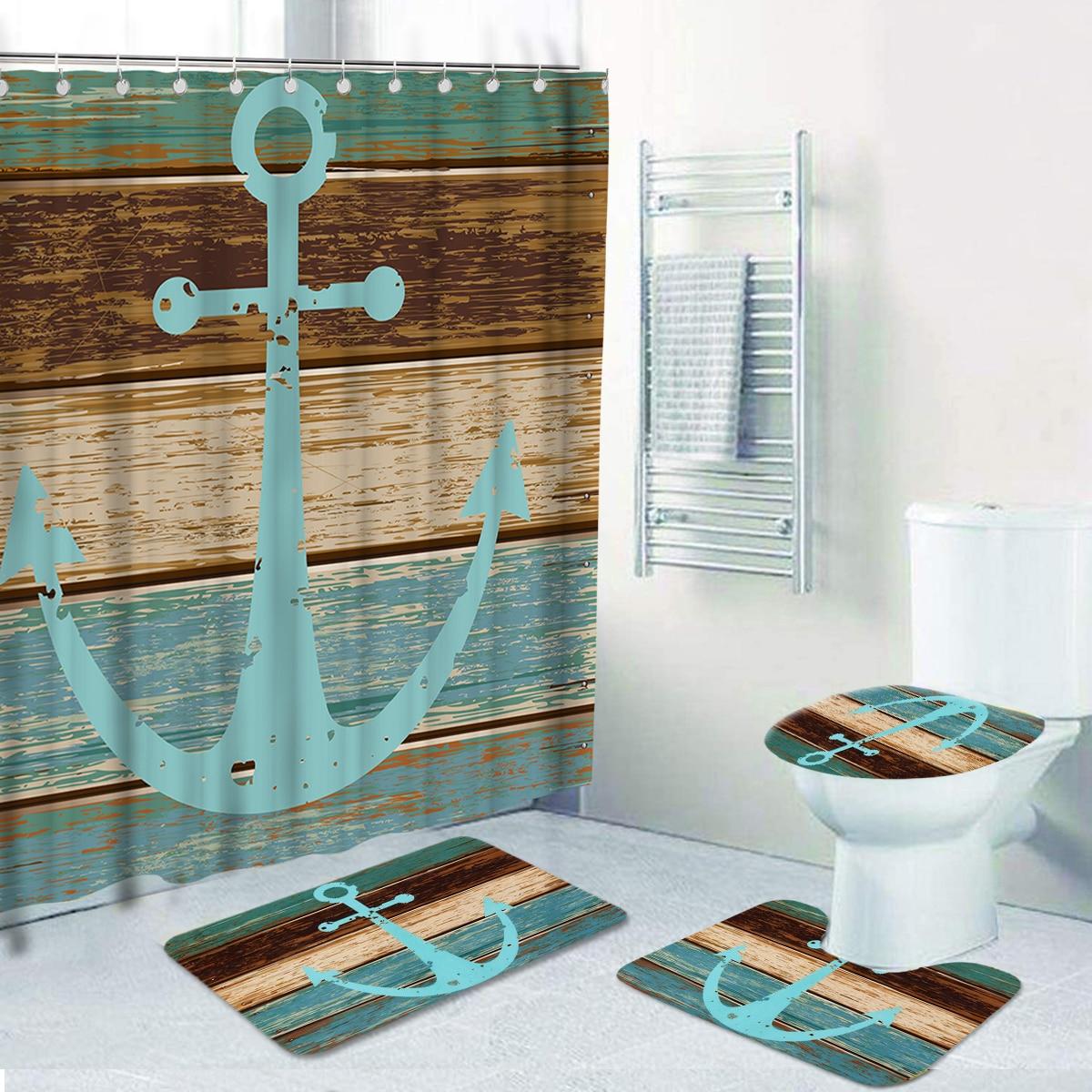1Pc Anchor Print Shower Curtain Or 1Pc Bath Mat