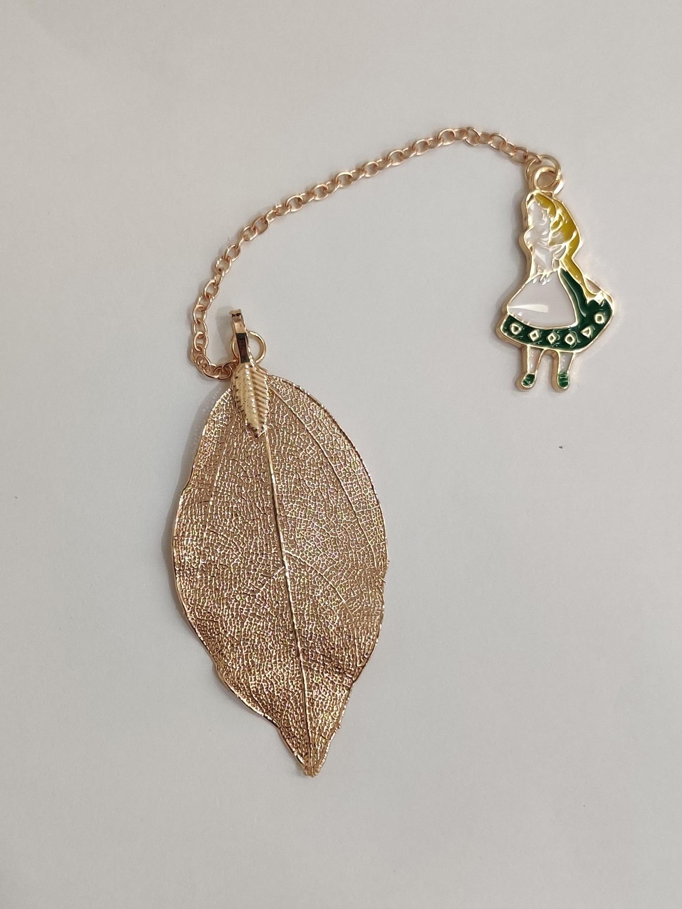 1Pc Metal Leaf Bookmark