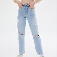90s vintage High-Waist Denim Straight Boyfriend Jeans