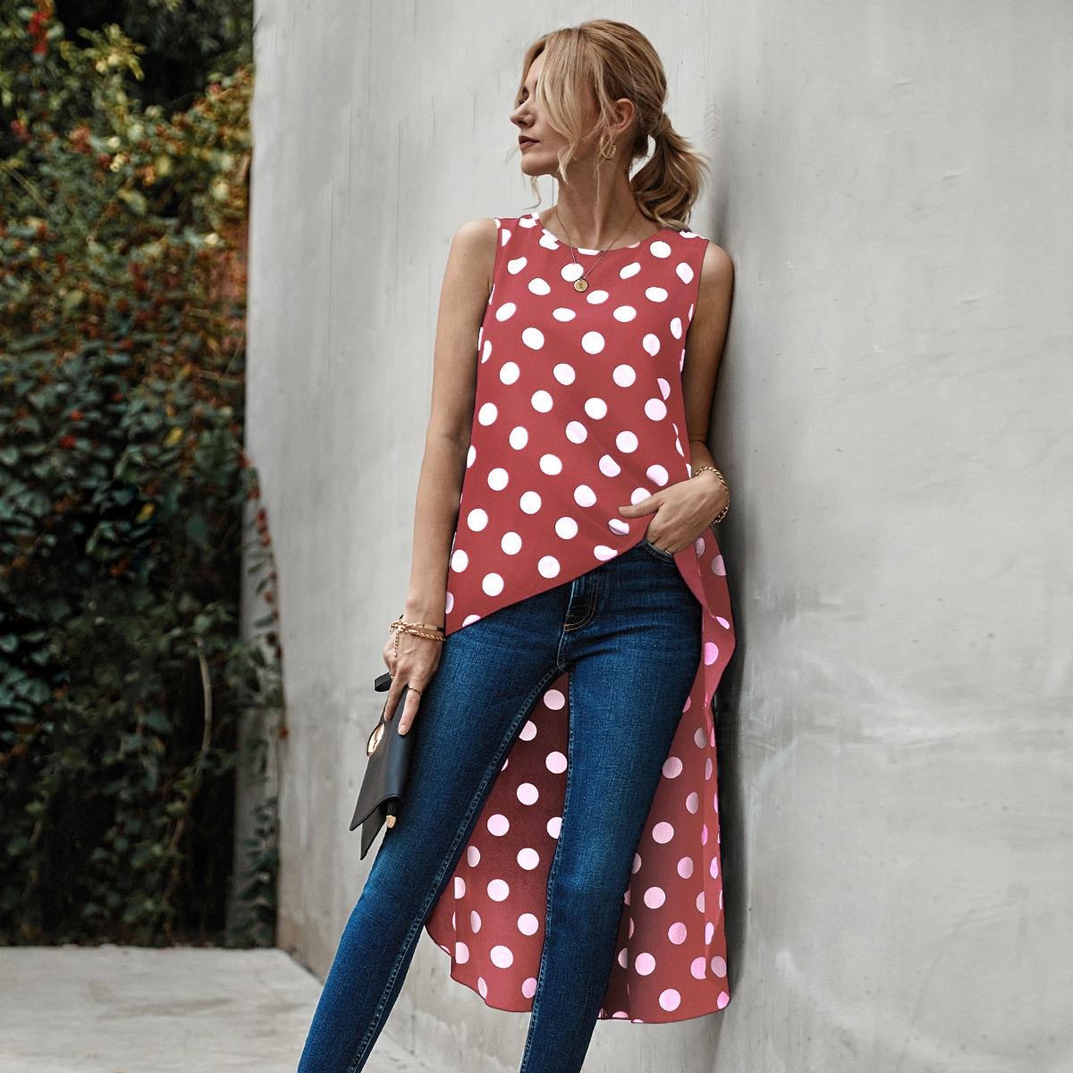 Асимметричная длинная блузка в горошек без рукавов SheIn swblouse23210510395
