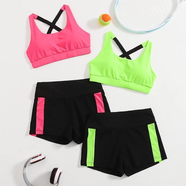 Crisscross Back Crop 2 Sports Top & 2 Shorts Set, Multicolor