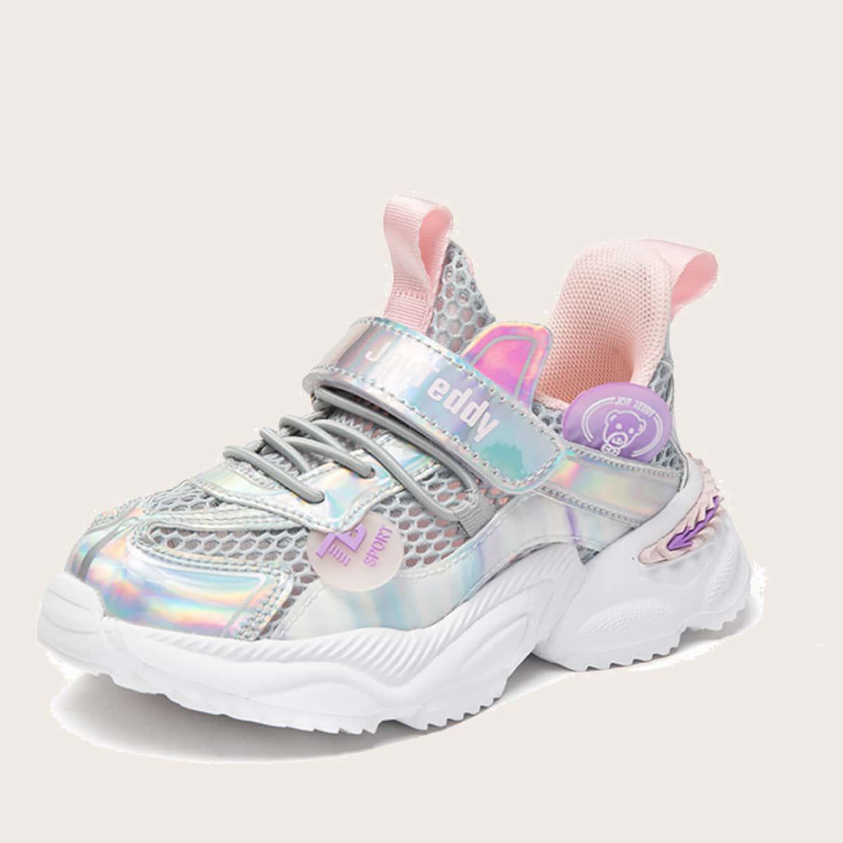 Сетчатые голографические кроссовки для девочек от SHEIN