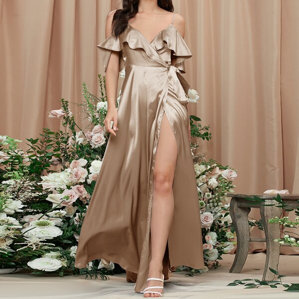 Cold Shoulder Ruffle Trim Wrap Tie Side Dress, Champagne