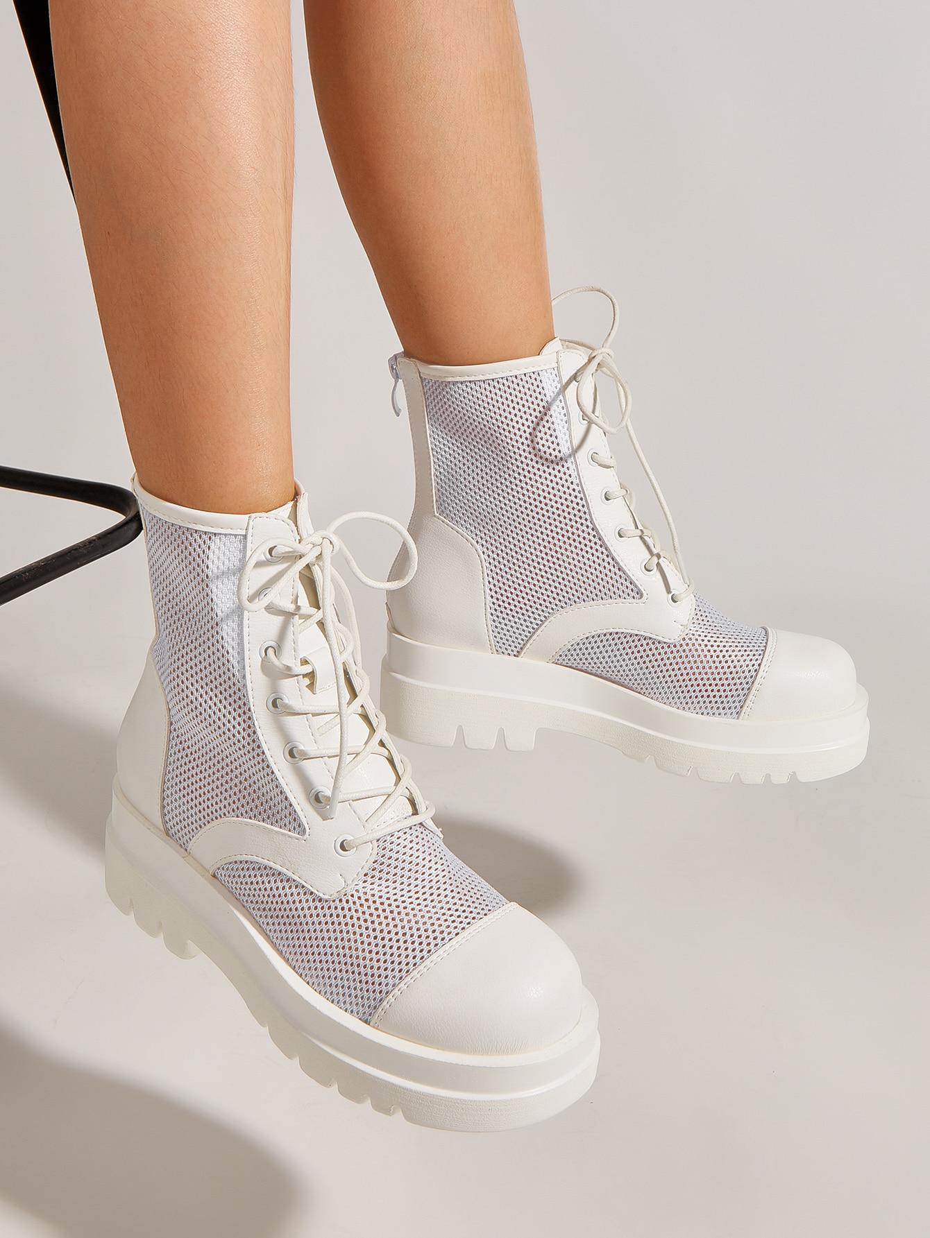 Minimalist Lace-Up Front Sandals Boots