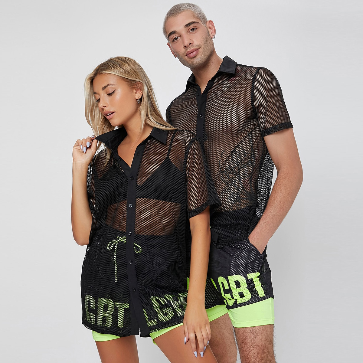 1шт Прозрачная сетчатая рубашка в сетку