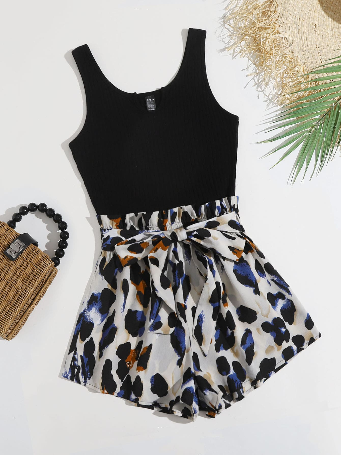 Graphic Print Colorblock Belted Tank Romper