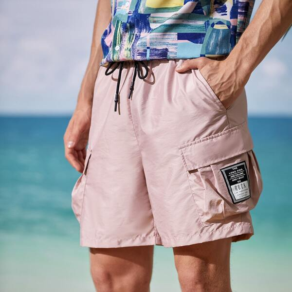 Men Flap Pocket Patched Detail Shorts, Dusty pink