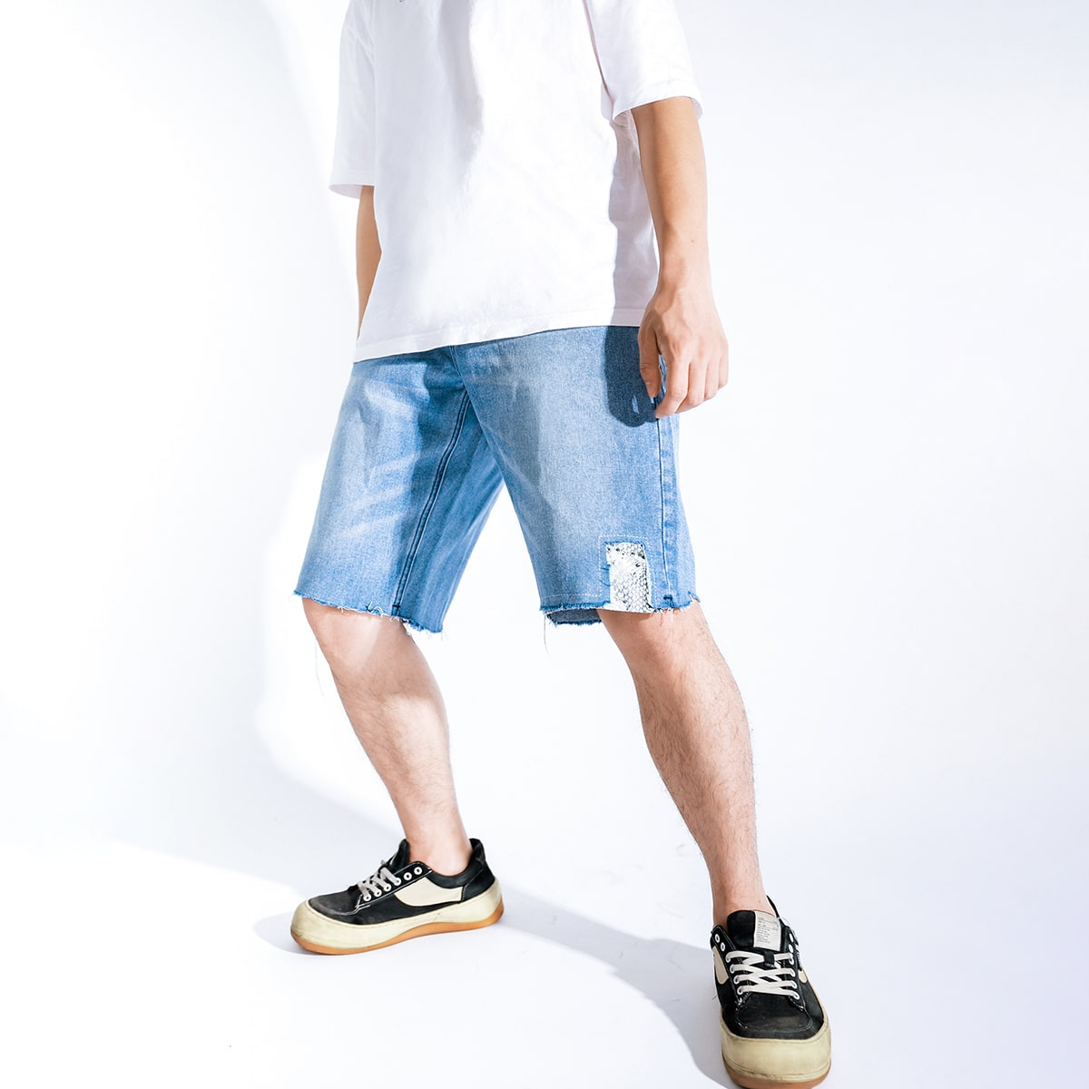 Мужской Джинсовые шорты-бермуды рваный от SHEIN