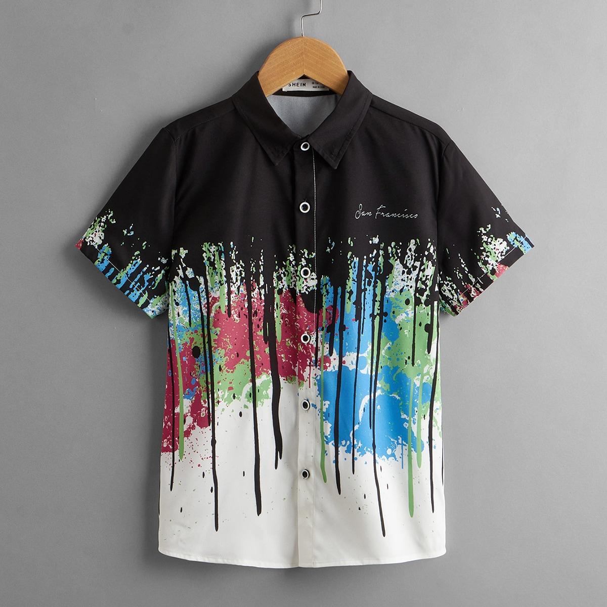 для мальчиков Рубашка абстрактным принтом & с текстовым принтом