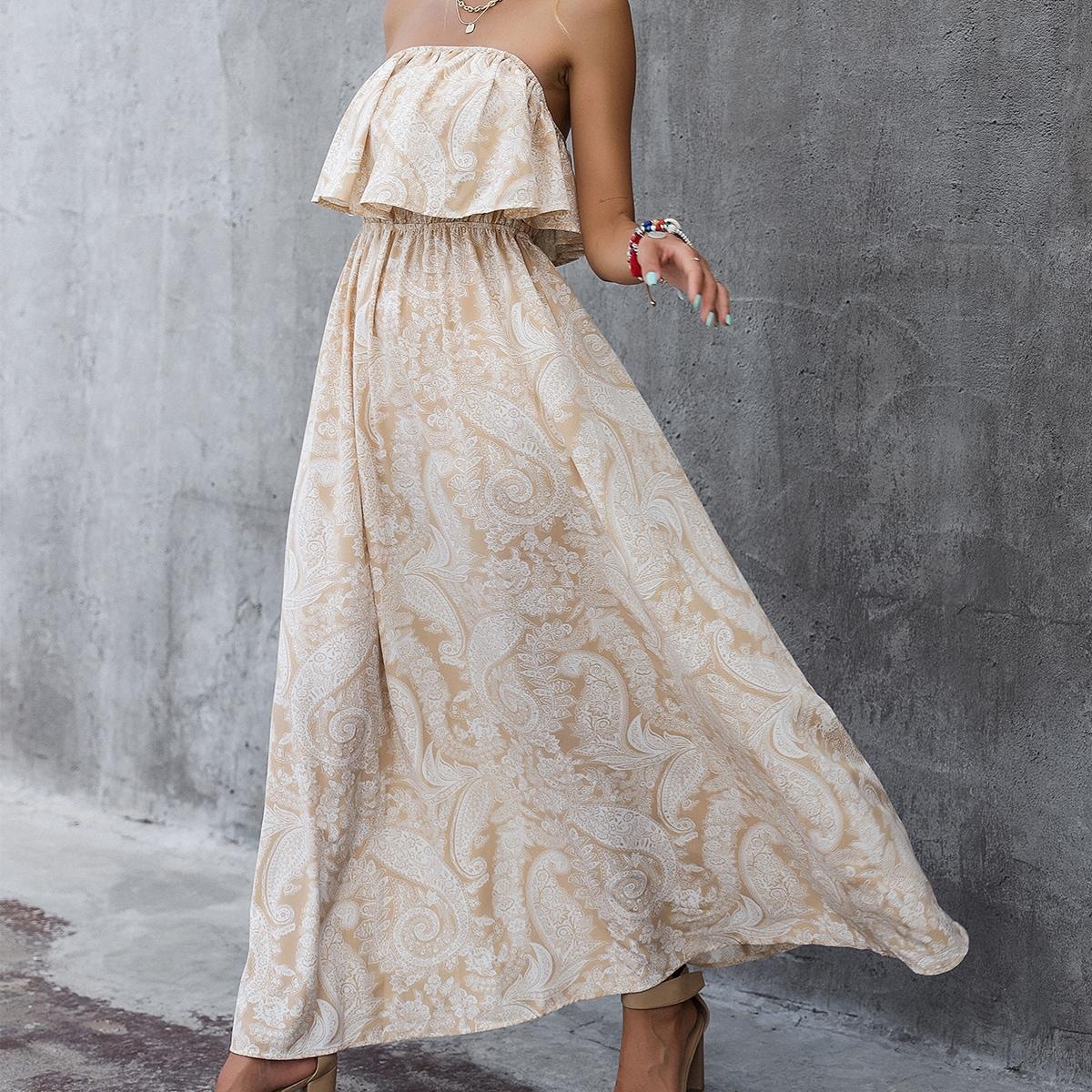 Платье-бандо с принтом пейсли SheIn swdress23210412984