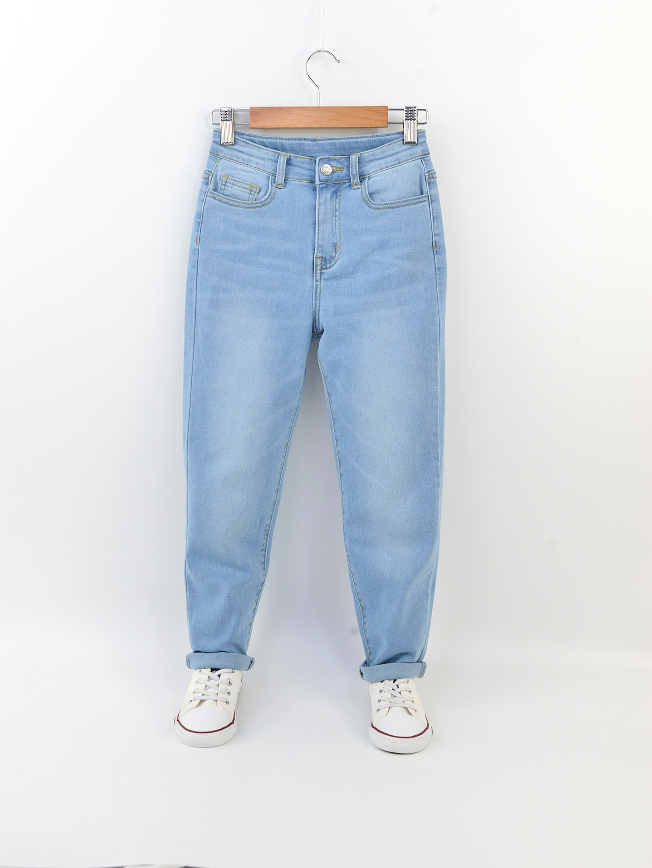 Boys Stone Washed Zipper Fly Tapered Pants