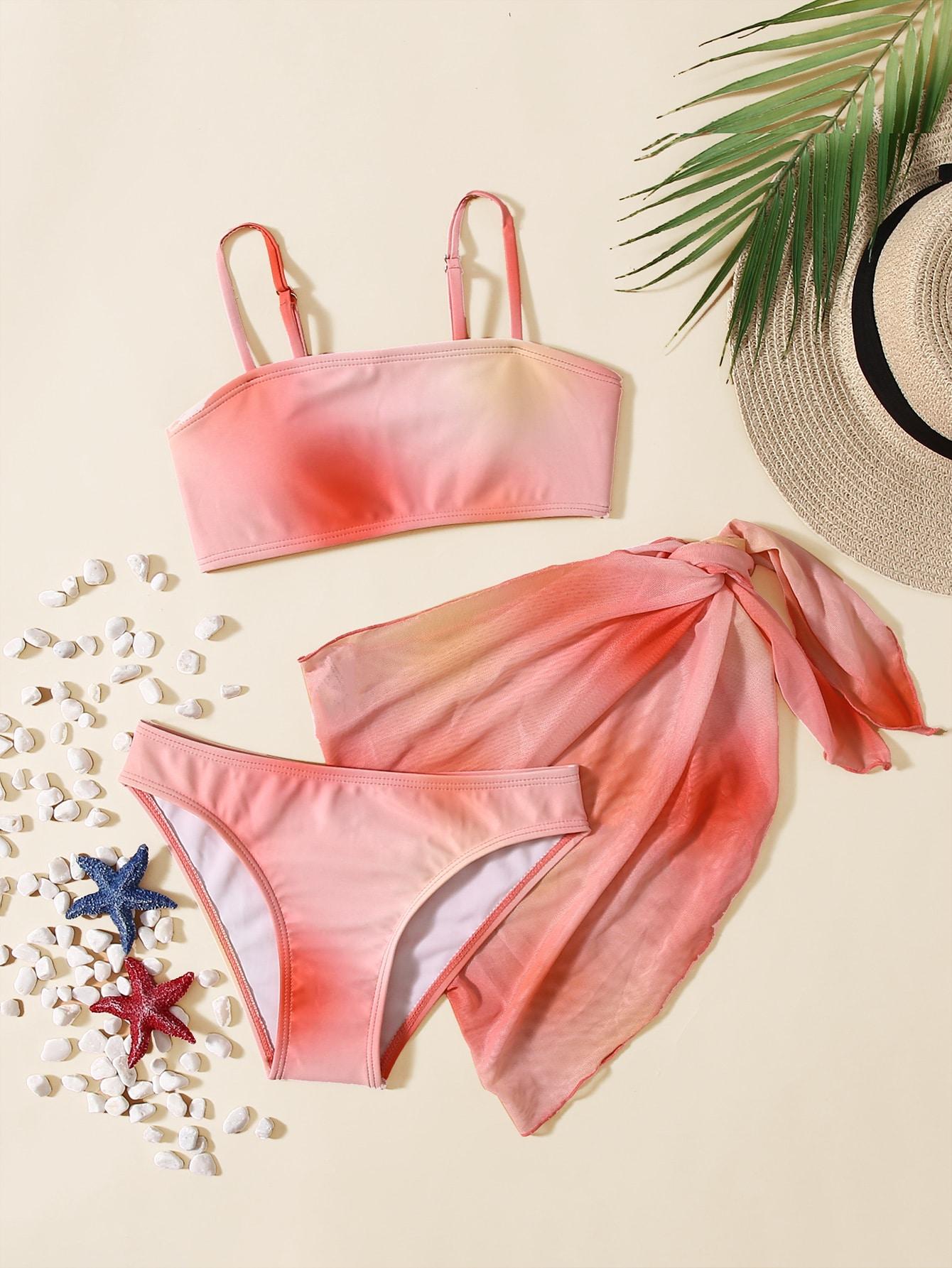 4Pack Girls Ombre Bikini Swimsuit & Beach Skirt