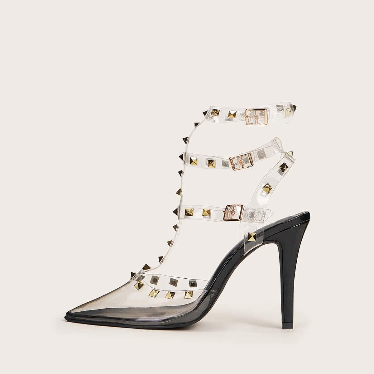 Остроконечные туфли с ремешком и заклепками от SHEIN