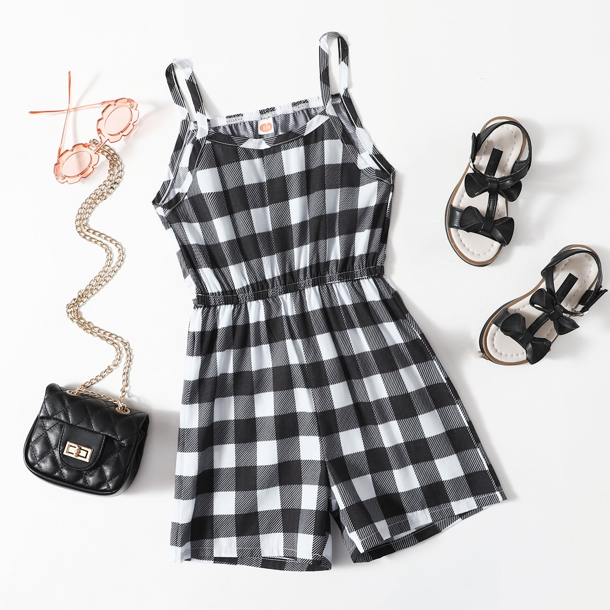 Girls Gingham Print Cami Romper, SHEIN  - buy with discount