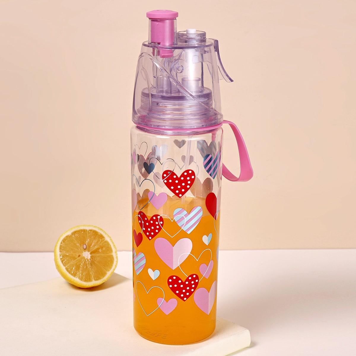 Bottiglia con cannuccia con stampa cuore
