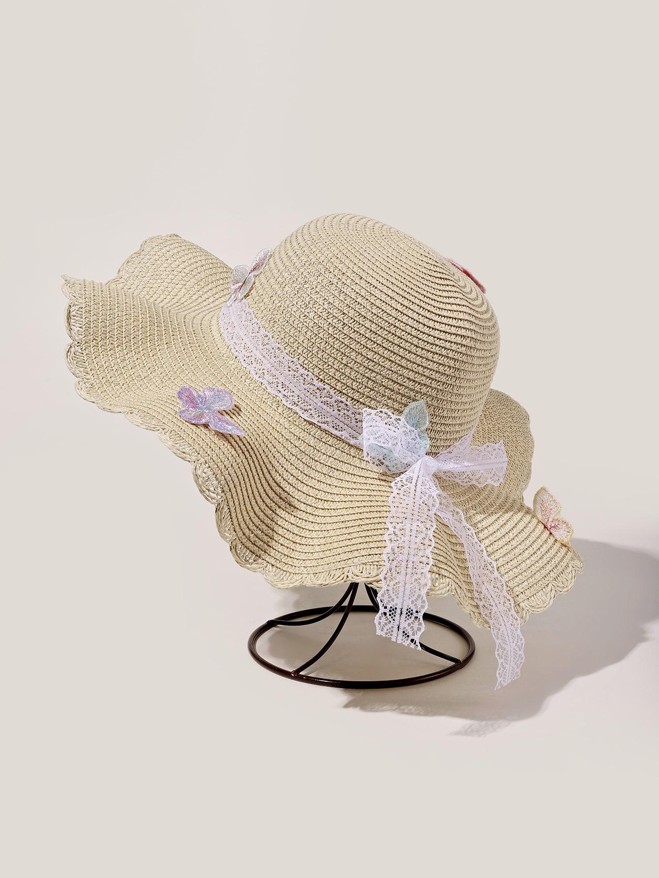 butterfly decor straw hat
