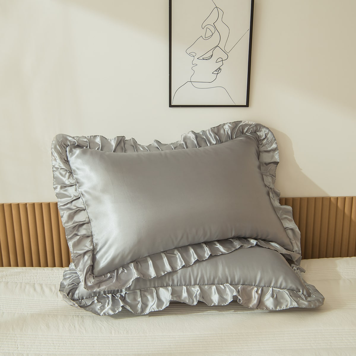 1Pair Satin Ruffle Pillowcase Without Filler