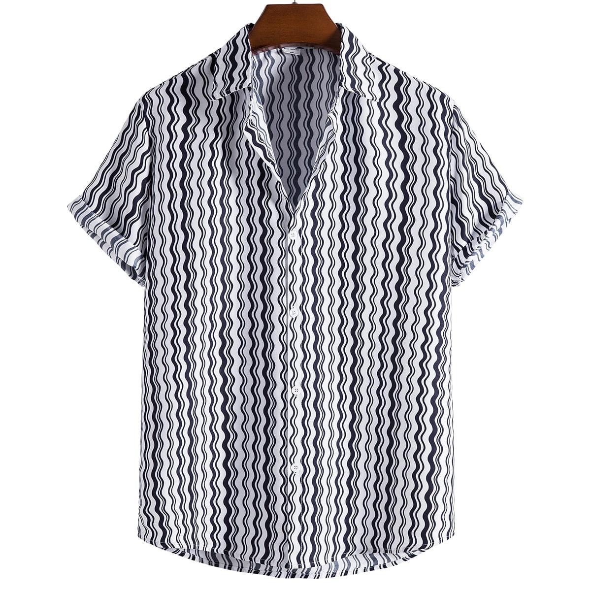 Мужской Рубашка линия принтом SheIn smshirt25210507365