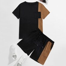 Guys Colorblock Tee With Drawstring Shorts