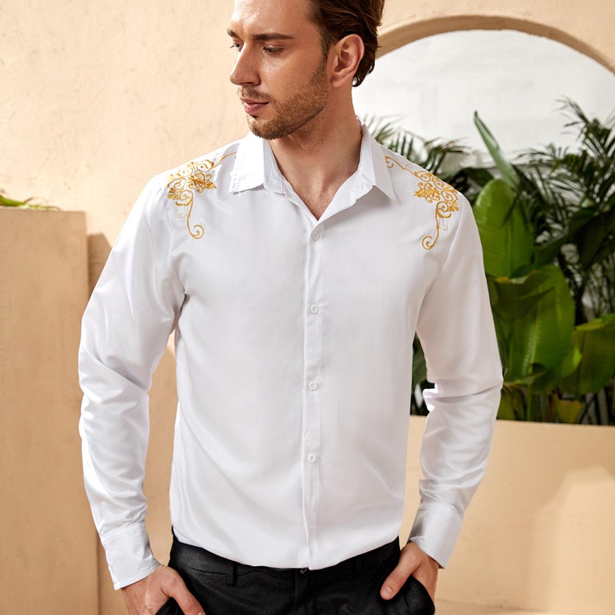 Мужской Рубашка вышивкой на пуговицах