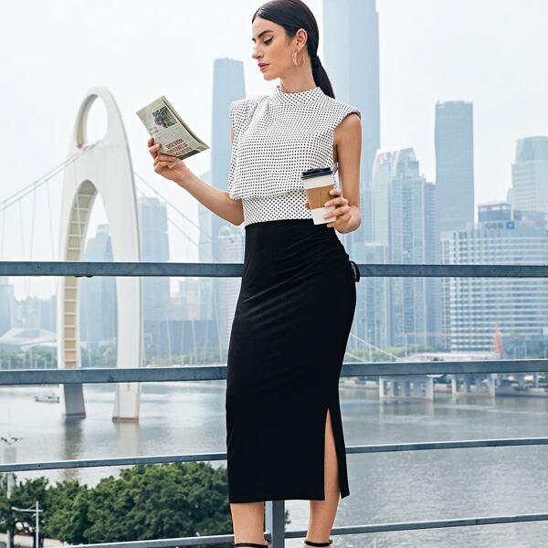 Mock Neck Polka Dot Top & Ruched Split Skirt Set, Black and white