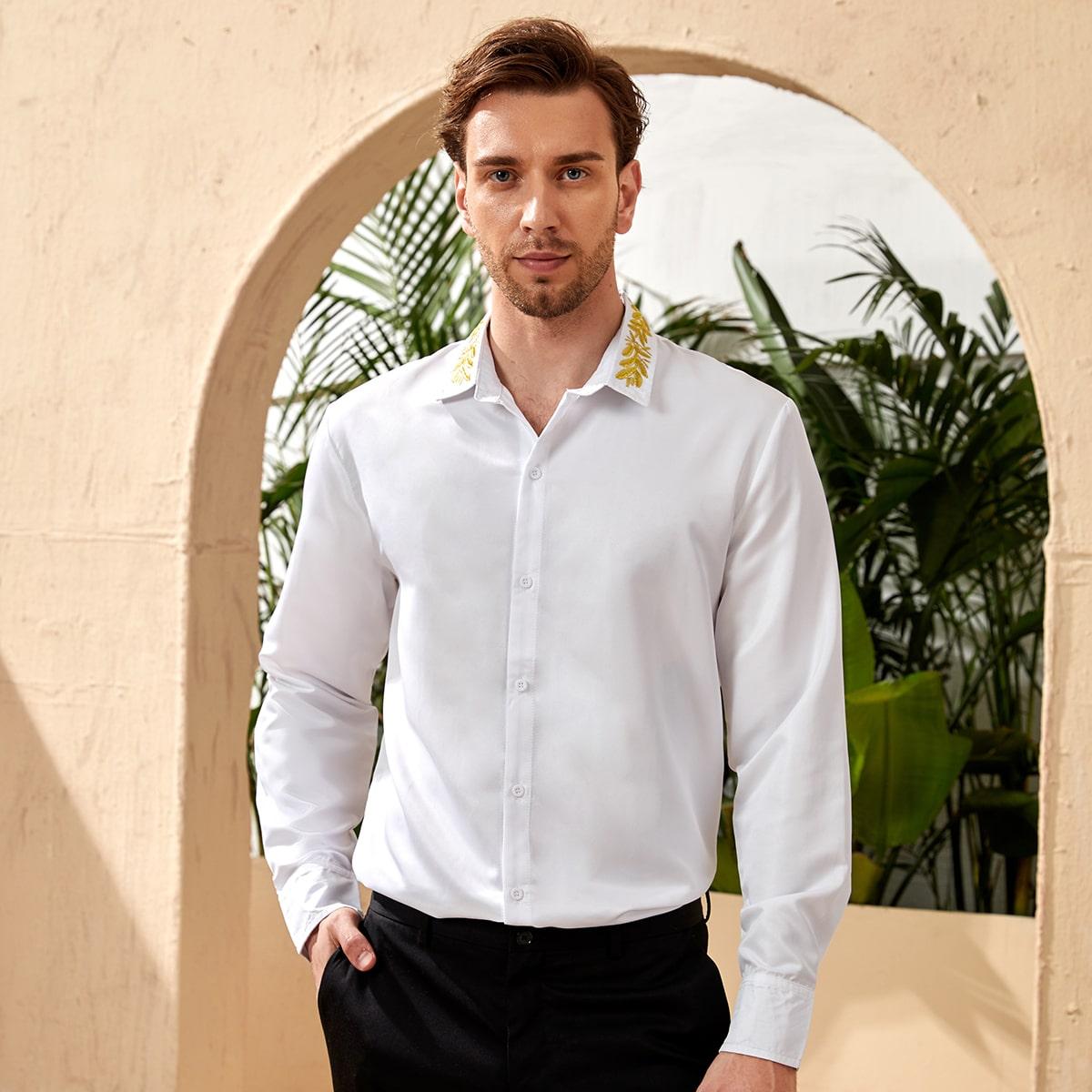 Мужская рубашка на пуговицах с вышивкой растений