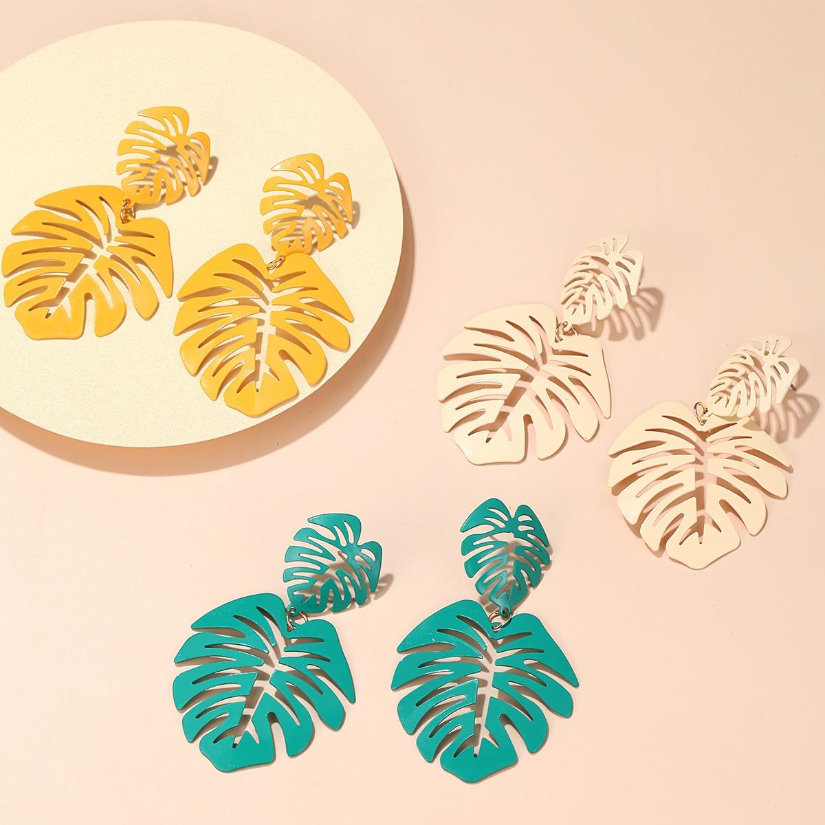 3pairs Leaf Design Earrings