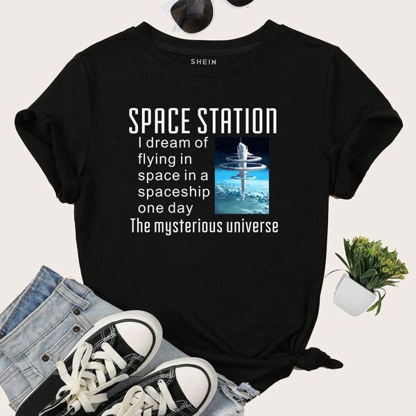 Slogan Graphic Short Sleeve Tee, Black