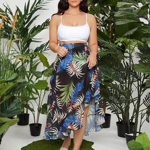Plus Asymmetrical Hem Tropical Print Skirt, Multicolor