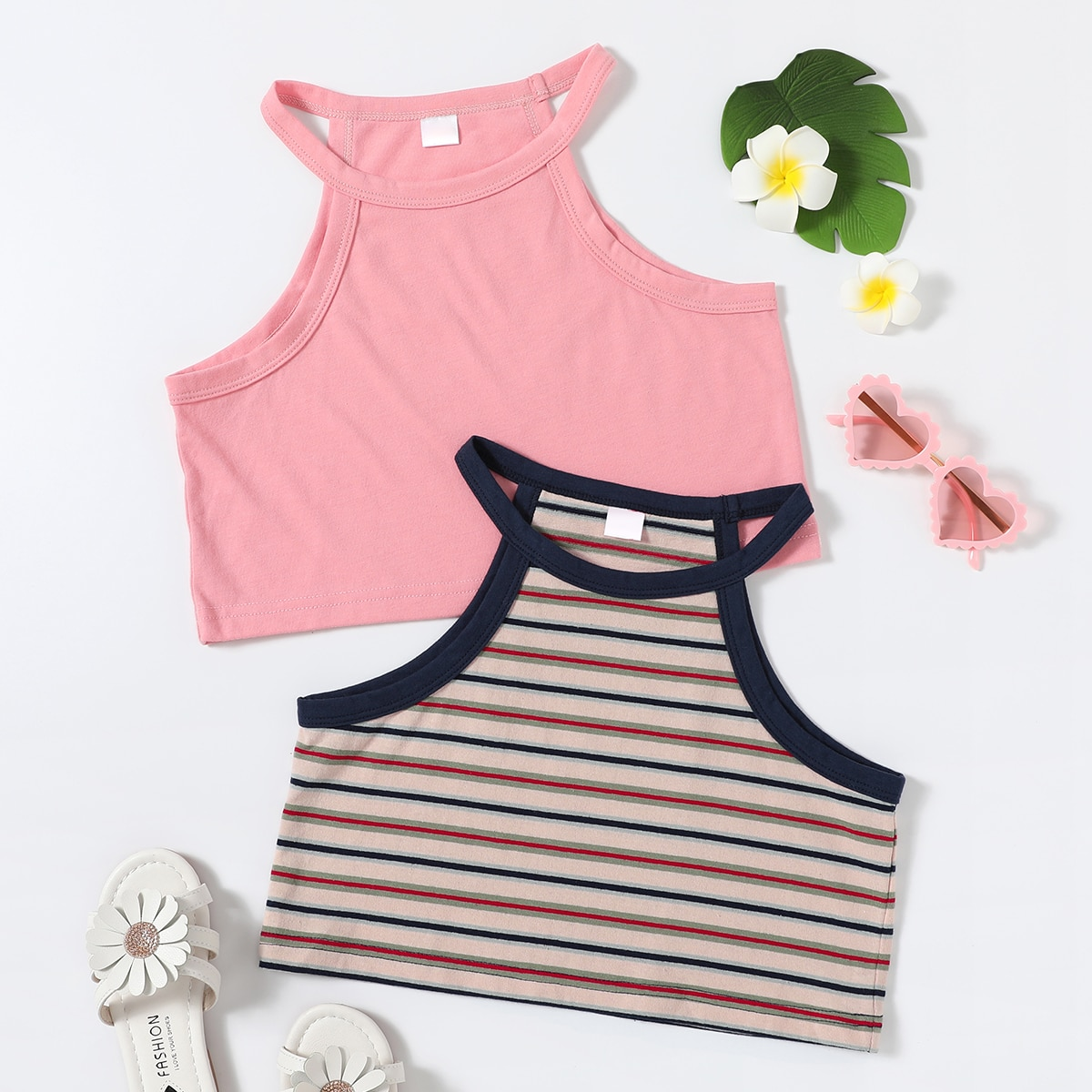 Girls 2pack Striped Print Tank Top, SHEIN  - buy with discount
