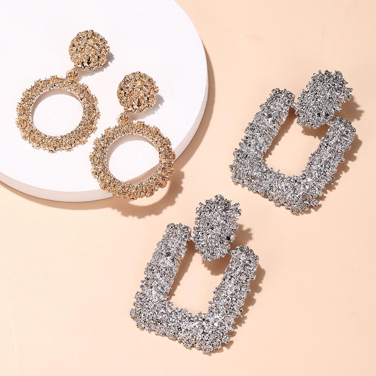 2pairs Geometric Earrings