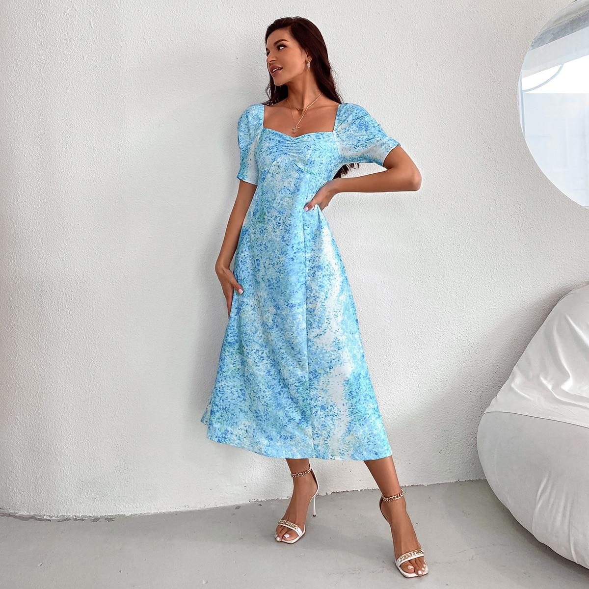 Платье с принтом с глубоким декольте SheIn swdress02210412827