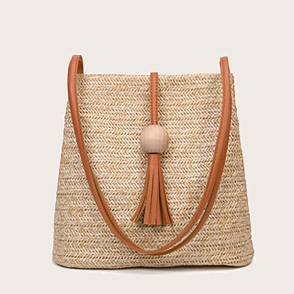 Tassel Decor Straw Bag, Khaki