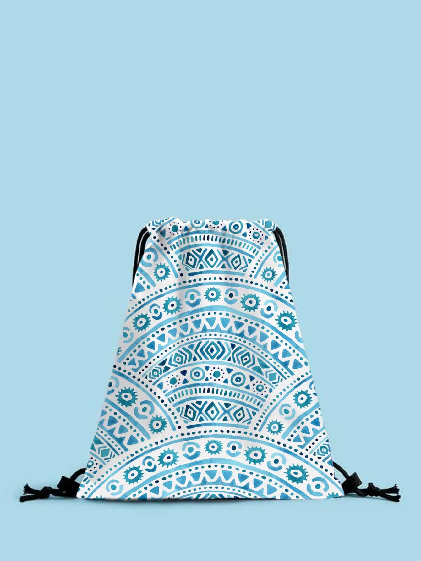 geometric graphic drawstring backpack