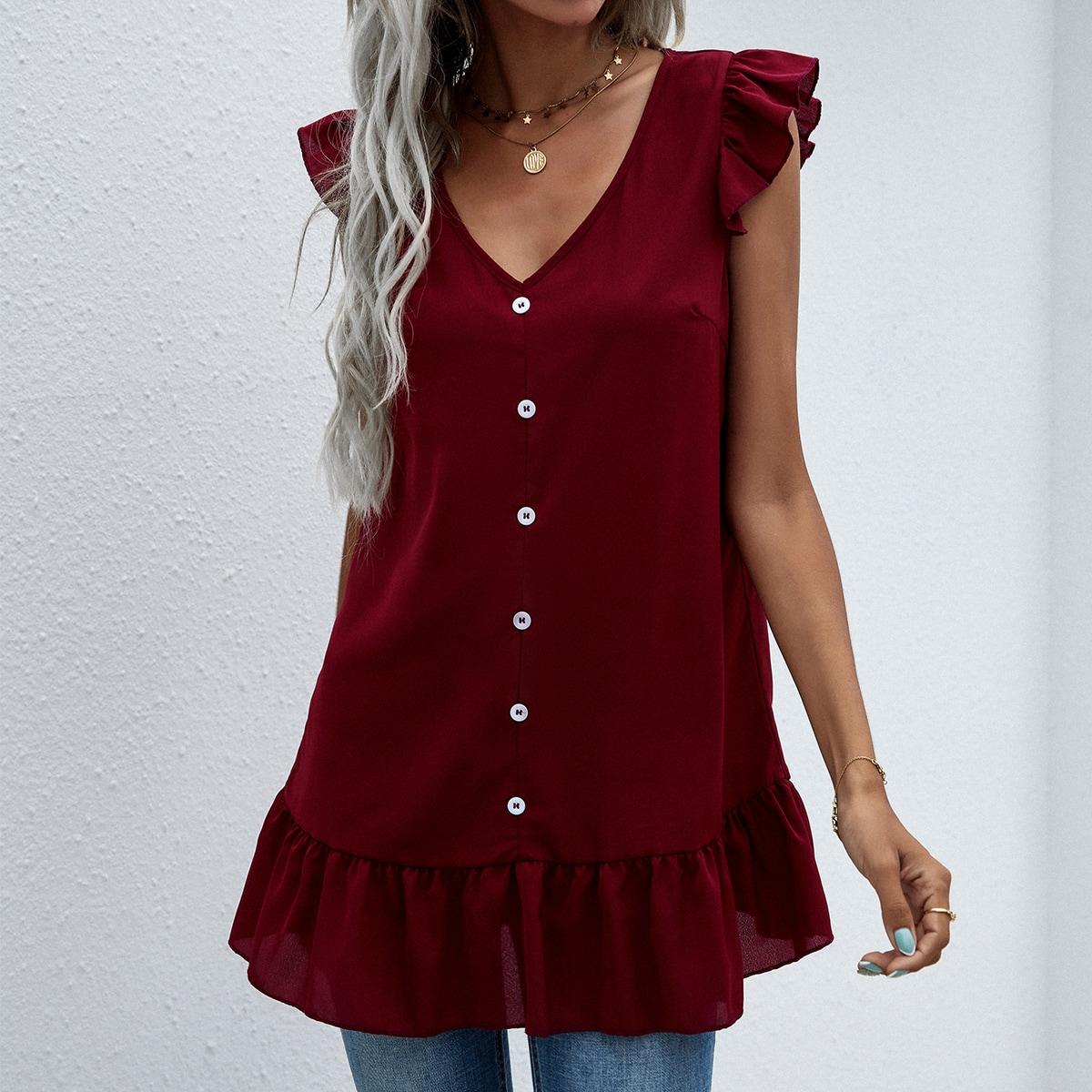 Блуза на пуговицах с оборками SheIn swblouse23210322187