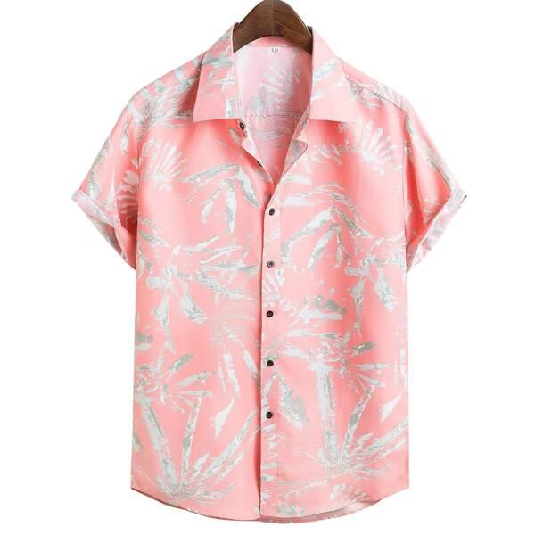 Men Random Plants Print Shirt, Baby pink