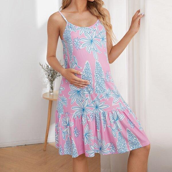 Maternity Ruffle Hem Floral Slip Sleepdress, Multicolor