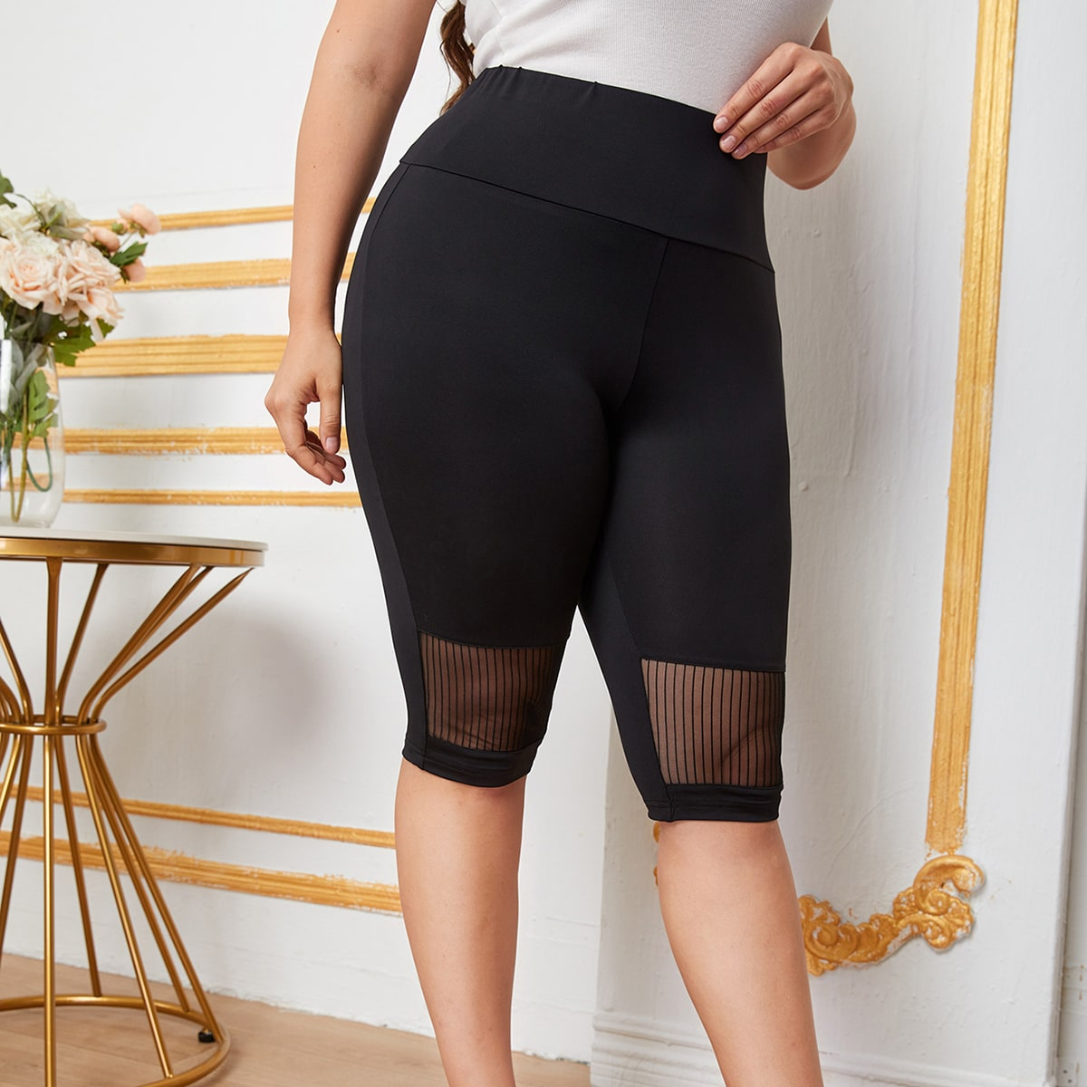Plus Mesh Insert Wide Waistband Leggings, SHEIN  - buy with discount