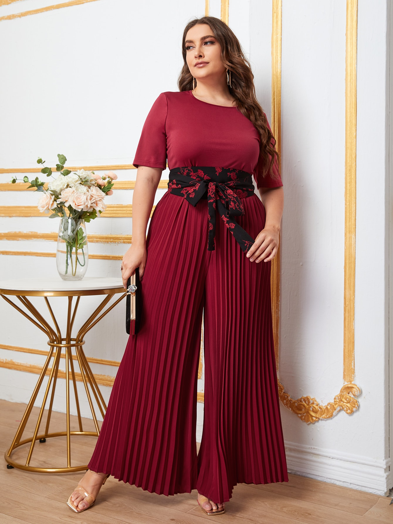 Plus Floral Belted Pleated Wide Leg Jumpsuit