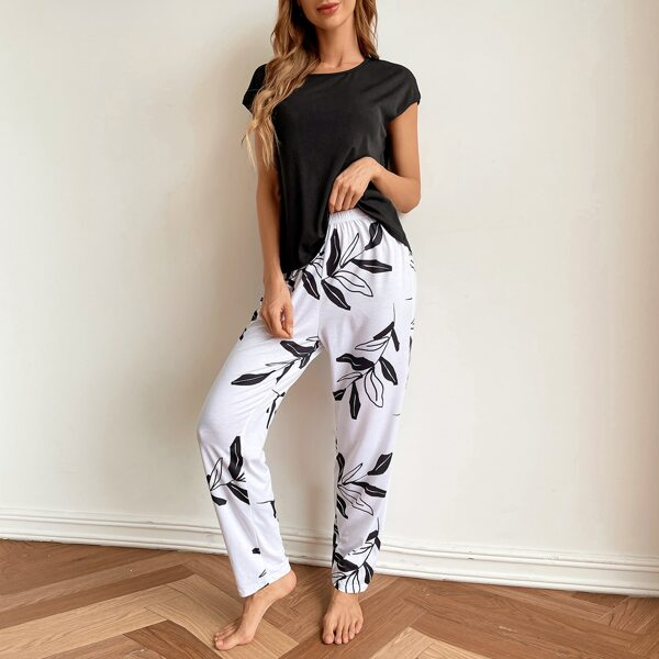 Solid Top And Plants Print Pants PJ Set, Black and white
