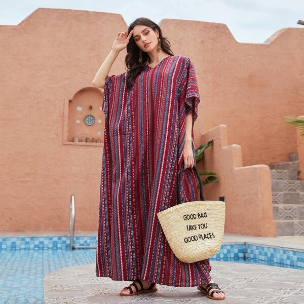 All Over Print Kaftan Dress, Multicolor