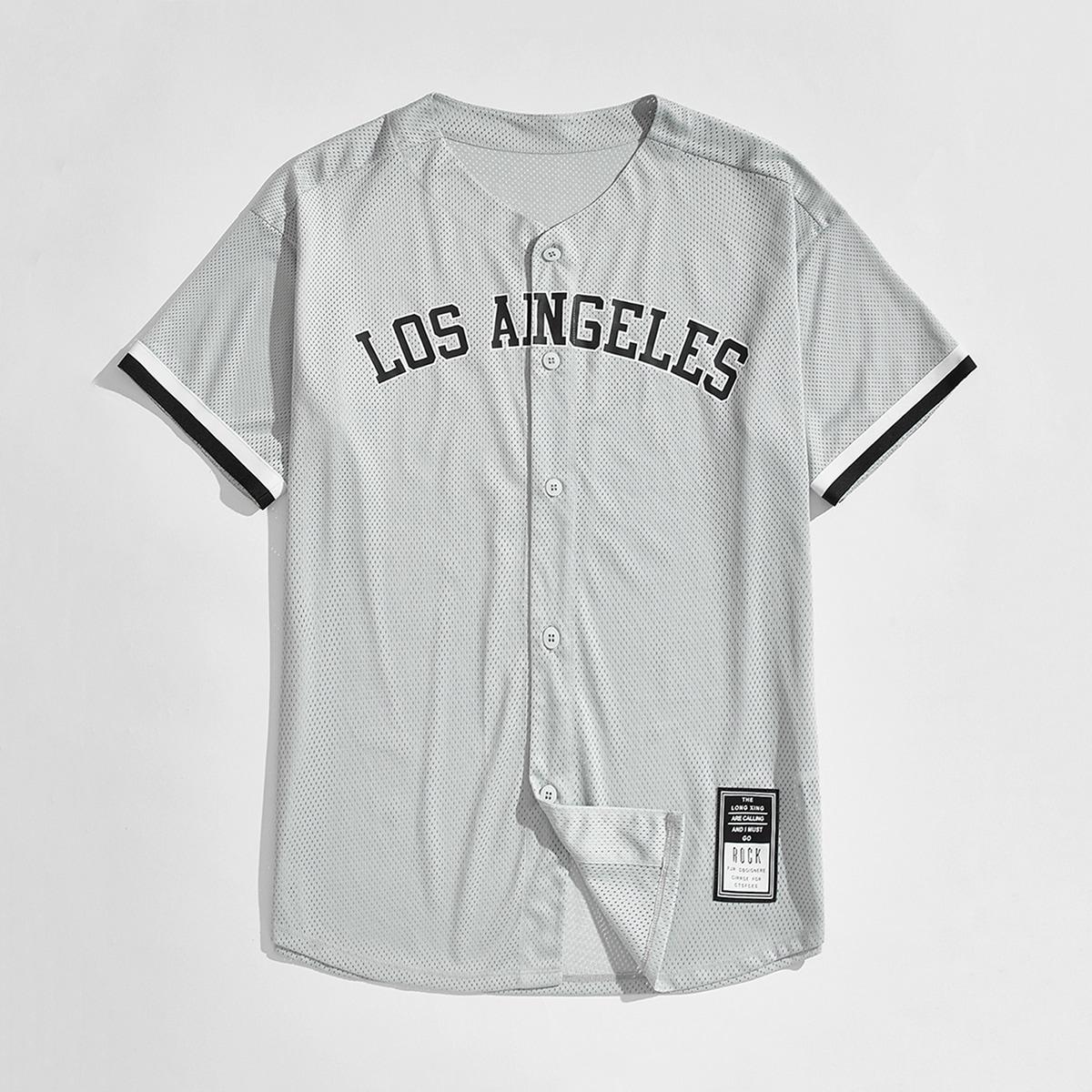 Мужской Рубашка с текстовым принтом в полоску открытый спортивный сетчатый