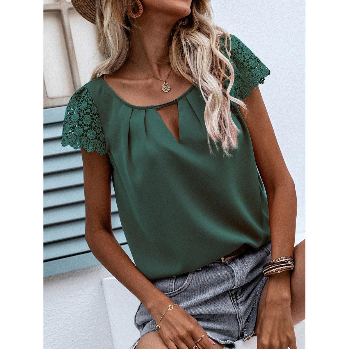 Блуза с гипюровым кружевом SheIn swblouse23210507901