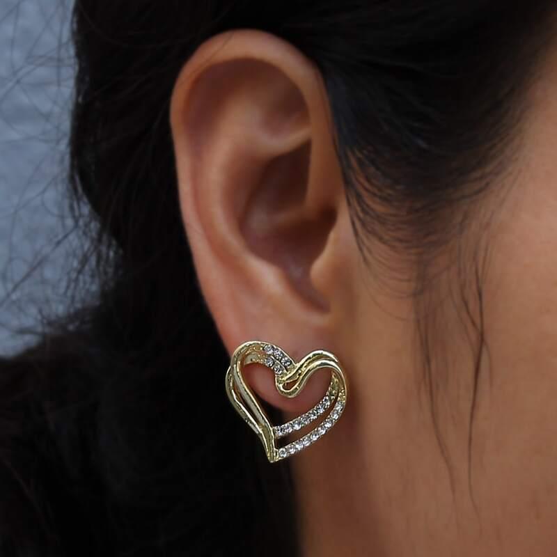 Rhinestone Heart Stud Earrings, Gold