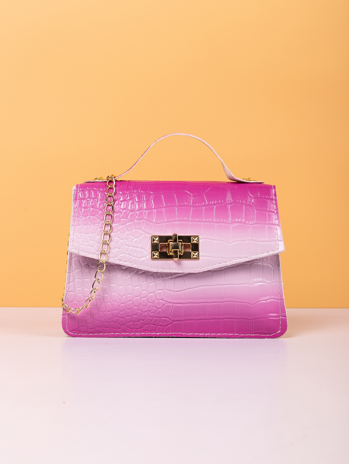 ombre croc embossed flap chain bag