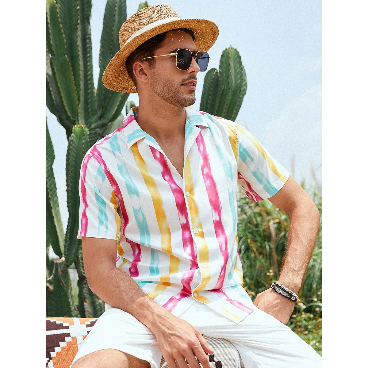 Мужской Рубашка в полоску на пуговицах SheIn smshirt03210323193