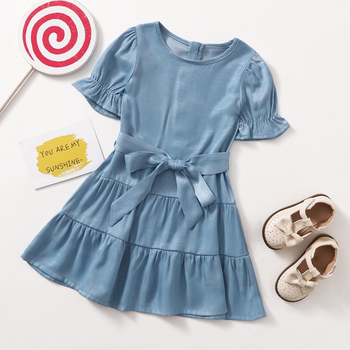 для девочек Джинсовое платье с оборками поясом SheIn skdress25210430151
